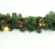 IP44 Outdoor 3m Pre-Lit Christmas Rattan With Pine Cone, Connectable